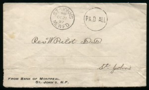 Newfoundland Stampless Cover