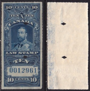 10¢ KGV Supreme Court rouletted with offset