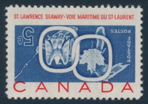 Lot 625 Canada #387a  1959 5c Inverted St. Lawrence Seaway, mint never hinged, fresh and extremely fine. Free of fingerprints which are often seen on these rare stamps but has a minor gum bend, mentioned for the record. Accompanied by a 2013 Richard Gratton AIEP certificate.  Unitrade CV$ 12,500.
